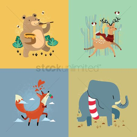 Eat : Set of animals with different actions