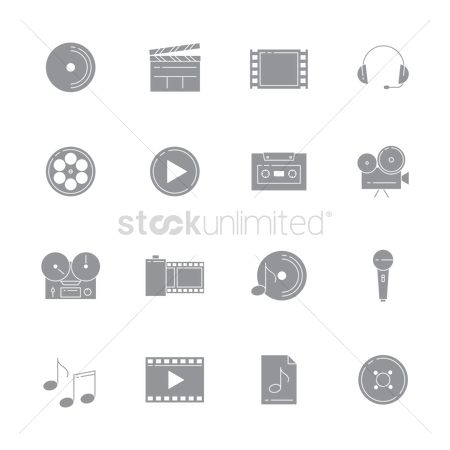 Reels : Set of audio and video icons