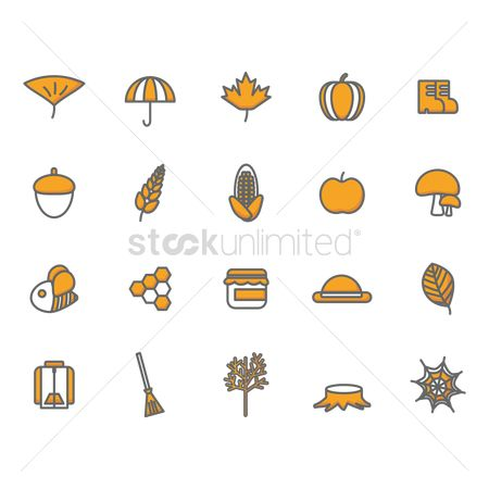 Broom : Set of autumn icons
