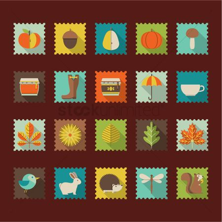 Coffee : Set of autumn icons