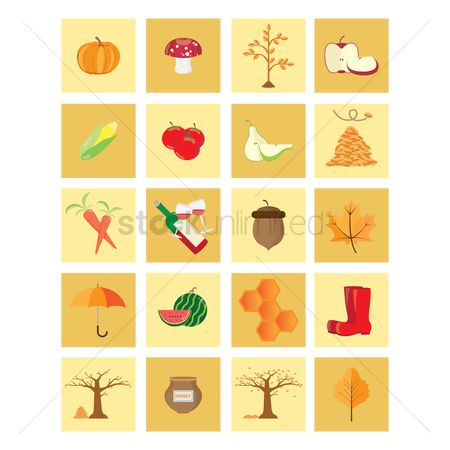 Red : Set of autumn icons