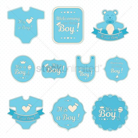 Cloth : Set of baby boy stickers