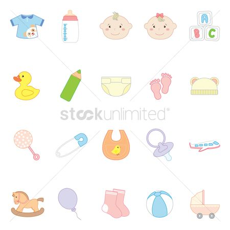 Beverage : Set of baby icons