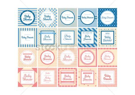 Invitations : Set of baby shower invitations