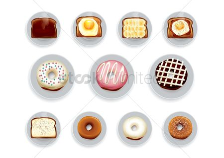 Confections : Set of bakery items