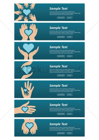 Health : Set of banners with heart and hands