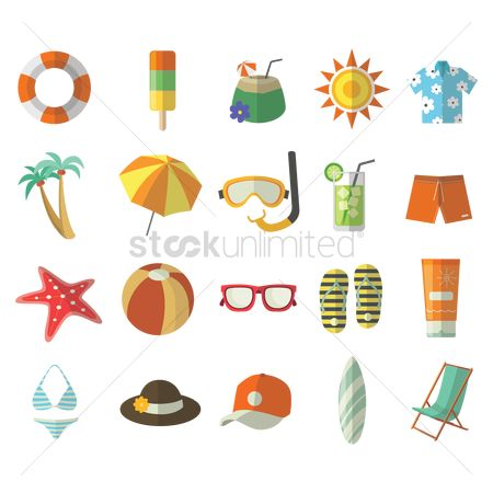 Footwears : Set of beach items