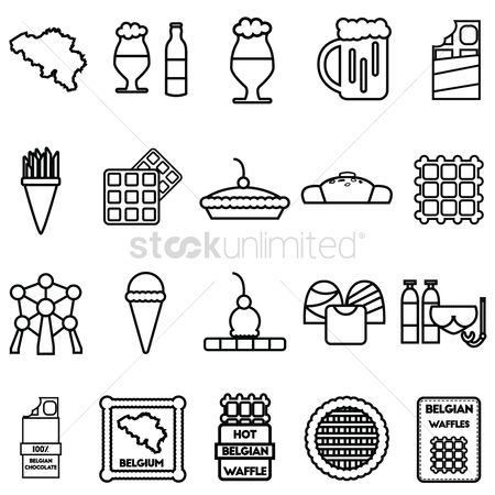 French fries : Set of belgium icons