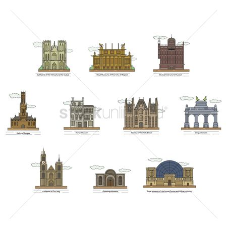 Royal : Set of belgium landmarks