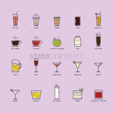 Liquor : Set of beverage icons