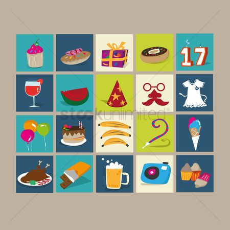 Watermelon slice : Set of birthday icons