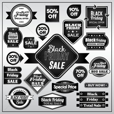Black friday : Set of black friday sale stickers