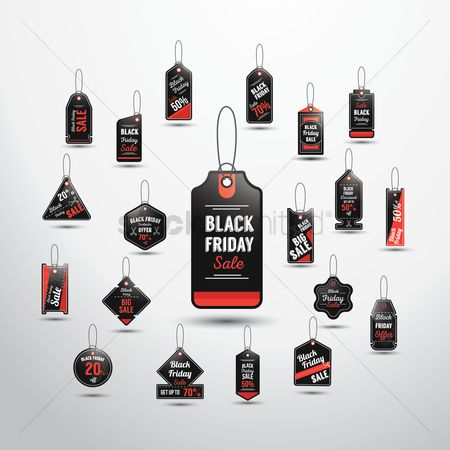 Black friday : Set of black friday sale tags