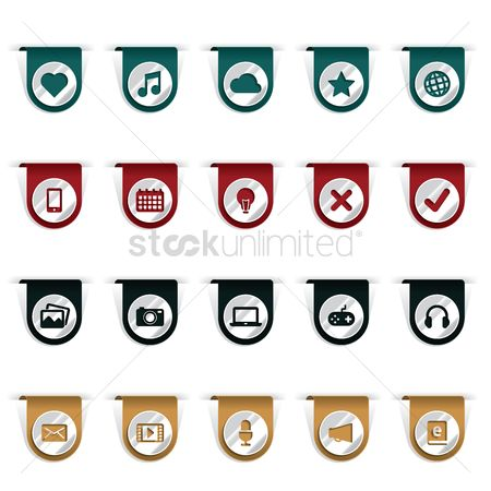 Microphones : Set of bookmark clip icons