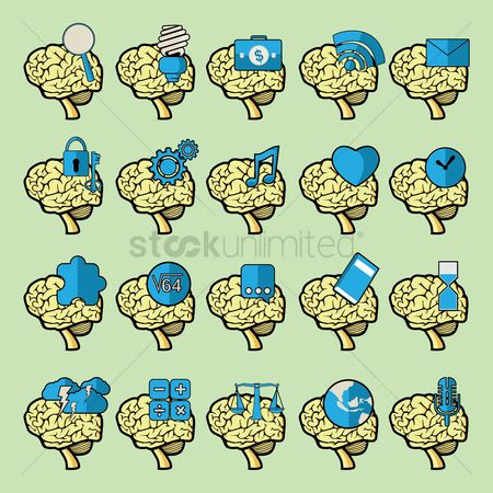 Success : Set of brain icons