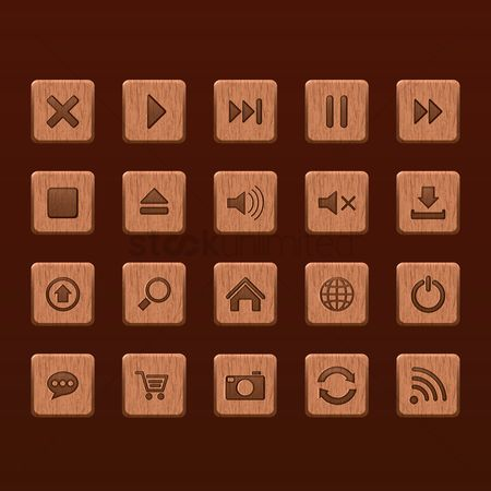 Trolley : Set of button icons