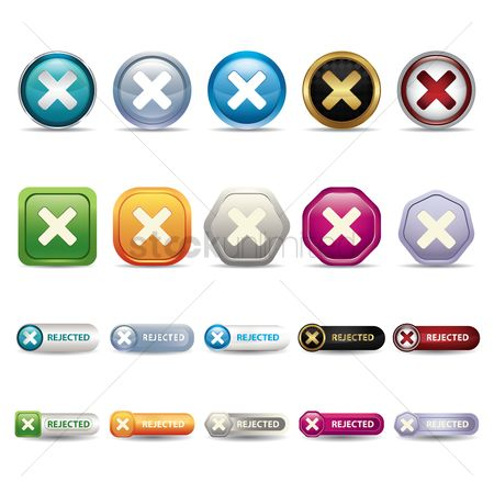 No : Set of button icons