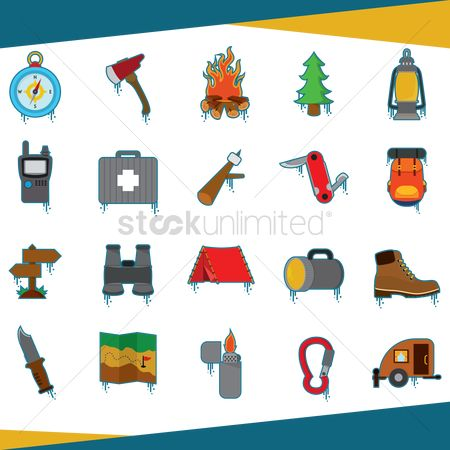 Lighter : Set of camping icons