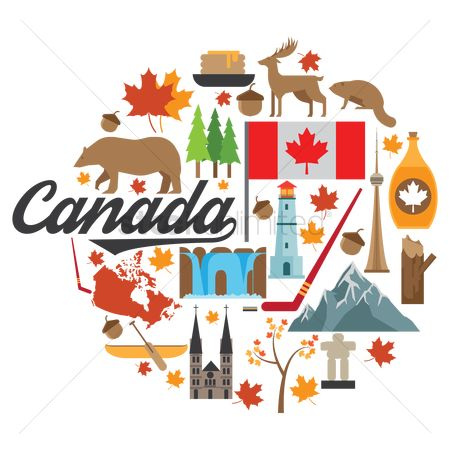 Wooden sign : Set of canada icons