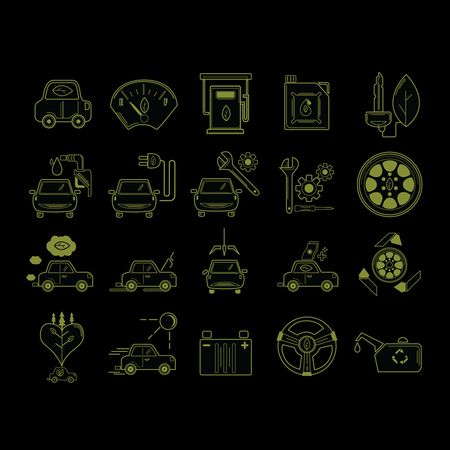 Car speedometer : Set of car service icons