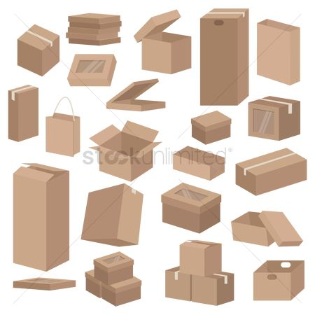 Three dimensional : Set of cardboard boxes