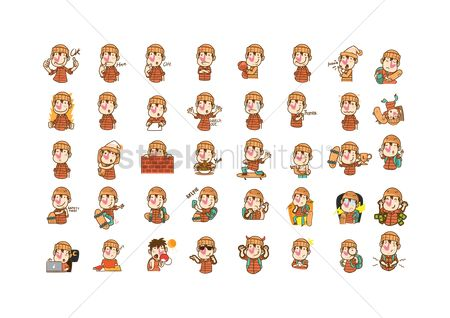 Phones : Set of cartoon characters