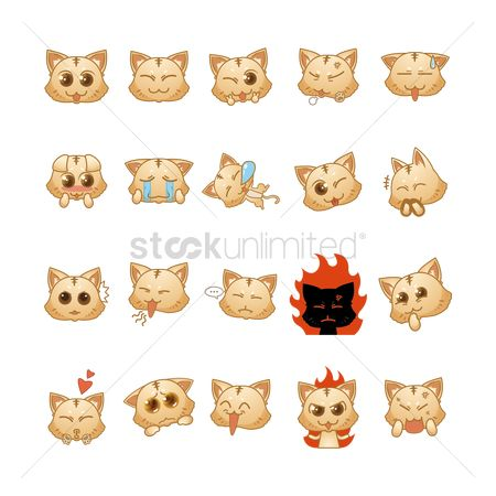 Heart shape : Set of cat expressions