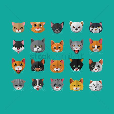 Joyful : Set of cat icons