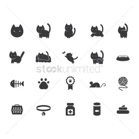Medicines : Set of cat icons