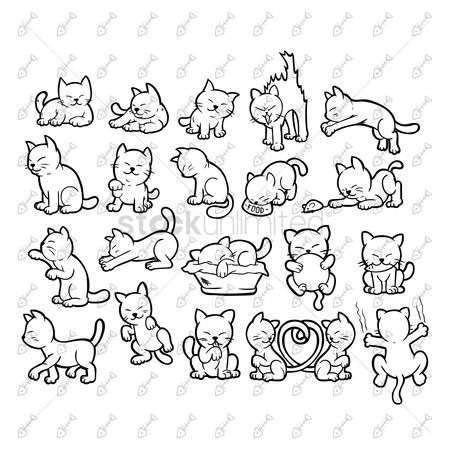 Linear : Set of cat icons