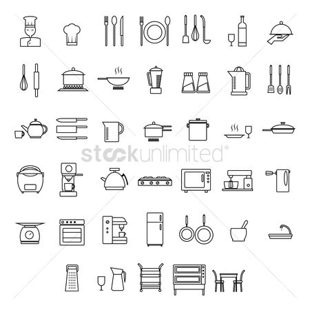 Trolley : Set of chef and home appliance icons