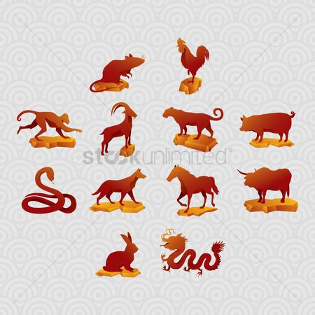 Horoscopes : Set of chinese zodiac icons