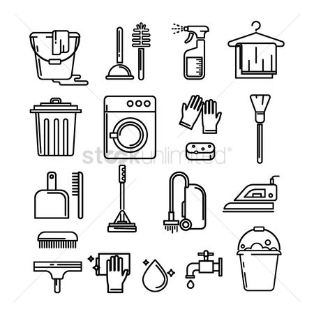 Brushes : Set of cleaning icons