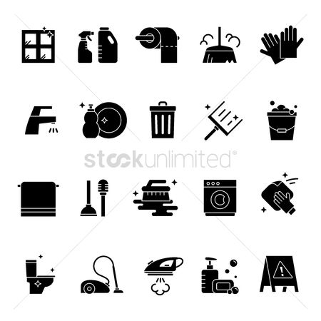 Cloth : Set of cleaning icons