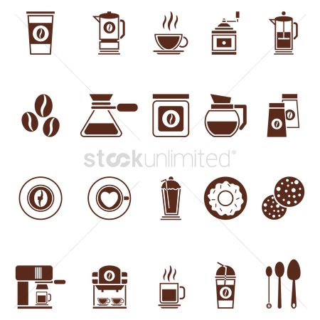 Biscuit : Set of coffee icons