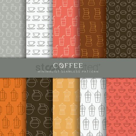 Beverage : Set of coffee pattern icons