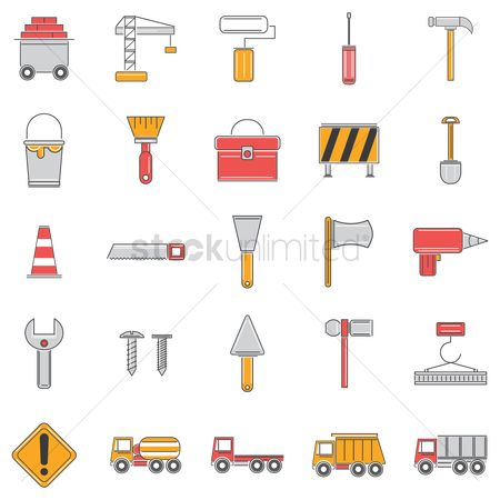Caution : Set of construction icons