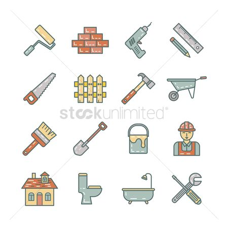 Roller brush : Set of construction icons