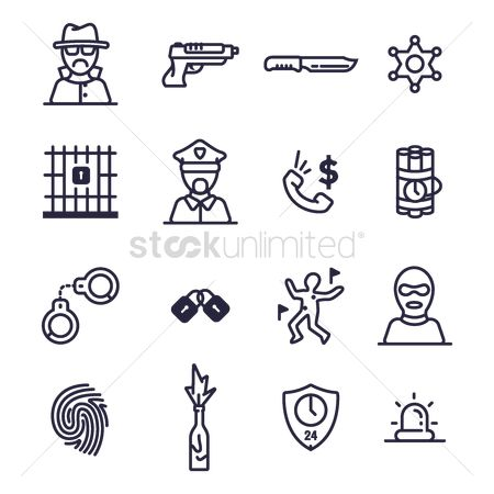 Hours : Set of crime icons