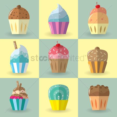 Pastry : Set of cupcakes