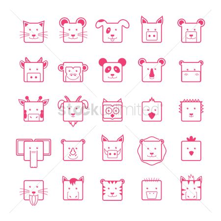 Cow : Set of cute animal faces icons