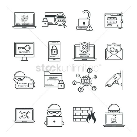 Pins : Set of cyber crime icons