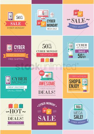 Online shopping : Set of cyber monday sale icons