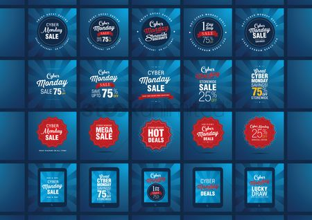 Shopping background : Set of cyber monday sale icons
