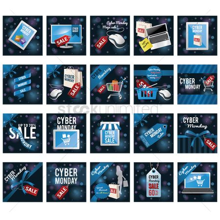 Awning : Set of cyber monday sale icons