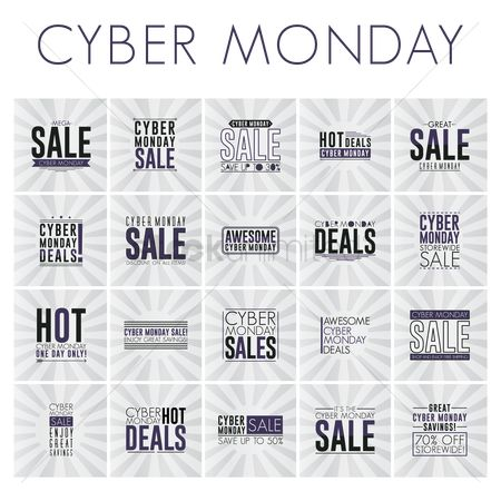 Monday : Set of cyber monday sale wallpapers