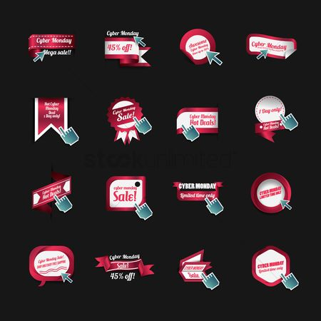 Cursors : Set of cyber monday stickers