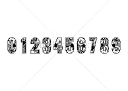 Fonts : Set of decorative numbers