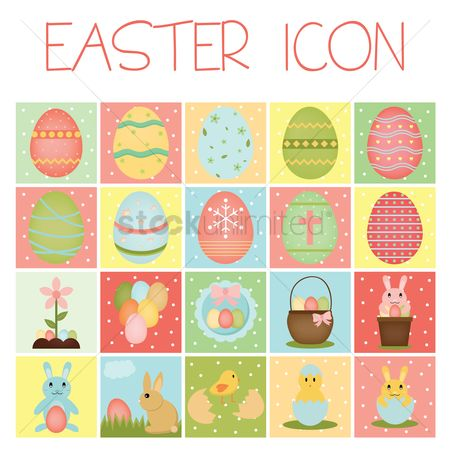 Flower pot : Set of easter icon
