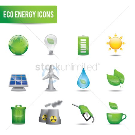 Trash can : Set of eco energy icon